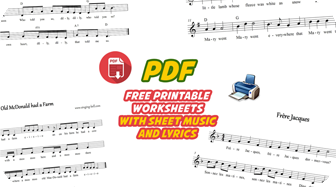 Free Printable PDF worksheets with sheet music and lyrics