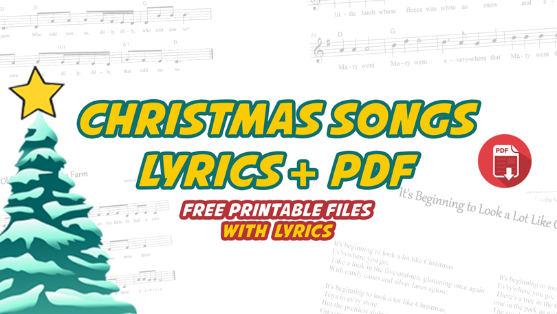 image relating to Printable Christmas Songs called Xmas Tunes Lyrics No cost Printable PDF obtain