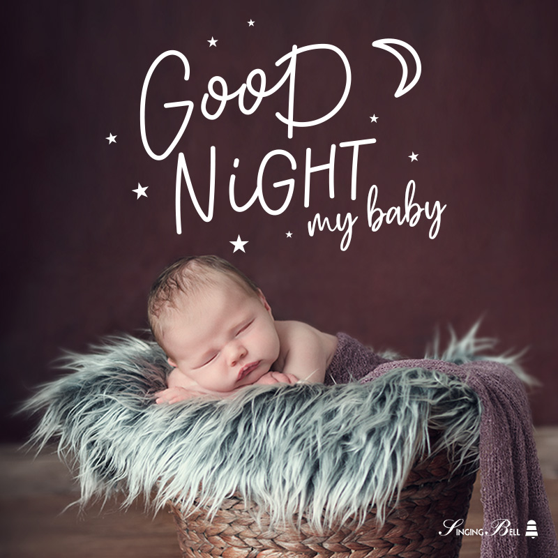 Good Night Baby Quote on image of sleeping baby.
