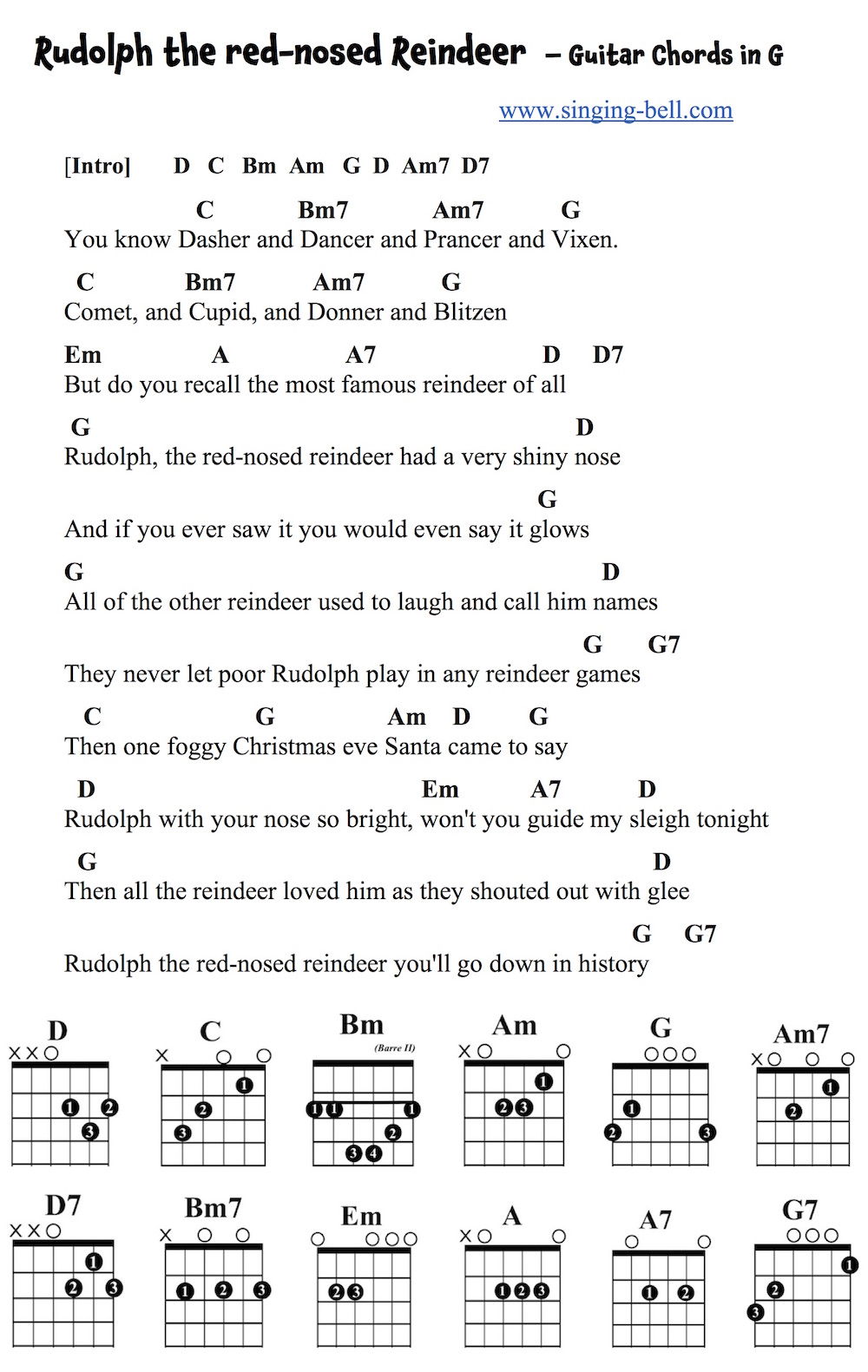 Rudolph The Red Nosed Reindeer Lyrics And Chords In C