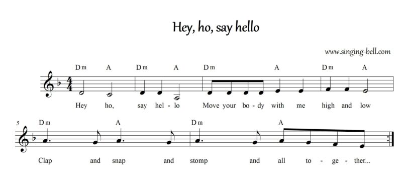 Sheet music with chords in Dm