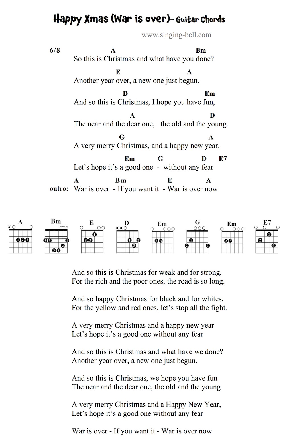 Happy Xmas (War is Over) - Guitar Chords and Tabs